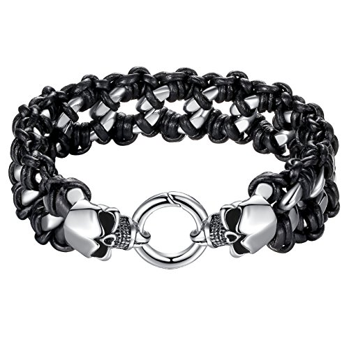 Stainless Leather Gothic Bracelet ccb007 product image