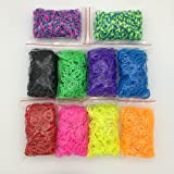4000pc Quality Rainbow Rubber Bands Refill Bundle - Includes: 4000 Rubber Bands, 10 Colors, 4 Packs S-Clips, 40 Colorful Beads, 2 Small Hooks,10 Charms, 2 Y-Shape Mini Looms