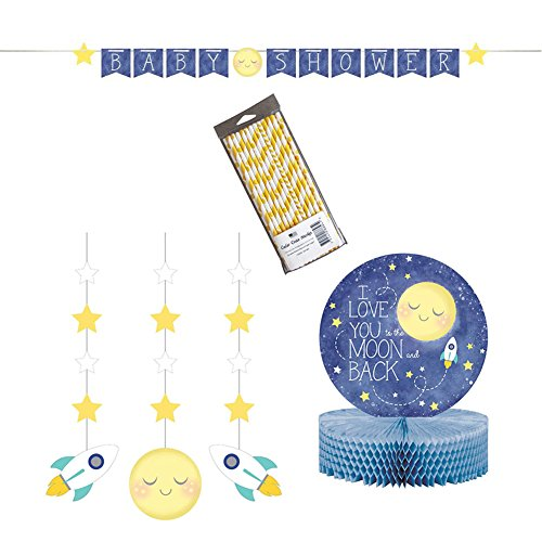to The Moon and Back Party Supply Pack: Jointed Banner, Dizzy Danglers, Centerpiece, and Straws (Variety Pack Bundle) by Cedar Crate Market