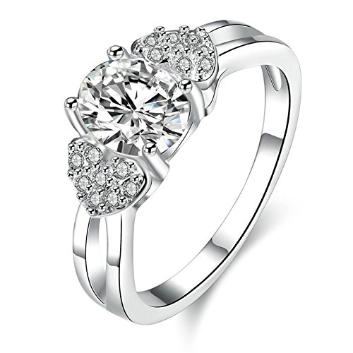 3ct Past Present Future Ring - Gnzoe Fashion Jewelry Women Silver Plated Finger Rings Elegant Heart Shape Wedding Band Inlaid CZ Zircon Size 8