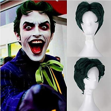 Peluca sintética para disfraz de Batman Joker, color verde oscuro, para Halloween, Anthony
