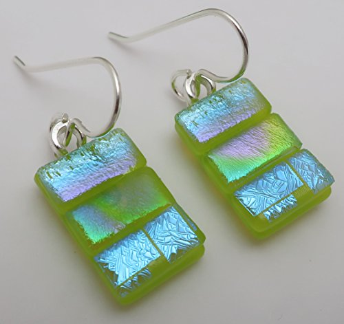 Petite Lime green fused dichroic glass Patchwork dangle earrings Sterling Silver ear wires ()