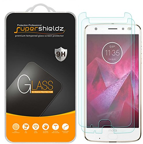 [2-Pack] Supershieldz for Motorola Moto Z2 Force Edition Tempered Glass Screen Protector, (Updated Version) Anti-Scratch, Anti-Fingerprint, Lifetime Replacement Warranty