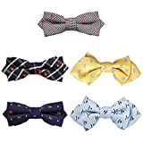 Bundle Monster 5 pc Boys Mixed Pattern Adjustable Elastic Pre-Tied Bow Tie Fashion Accessories - Set 1