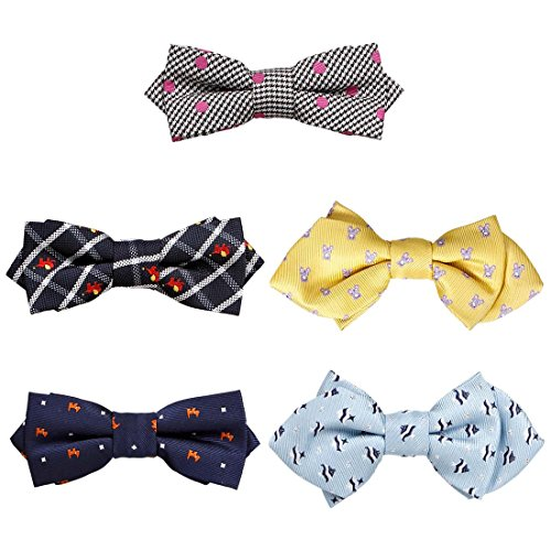 Bundle Monster 5 pc Boys Mixed Pattern Adjustable Elastic Pre-Tied Bow Tie Fashion Accessories - Set 1 (Boys Ties Bundle)