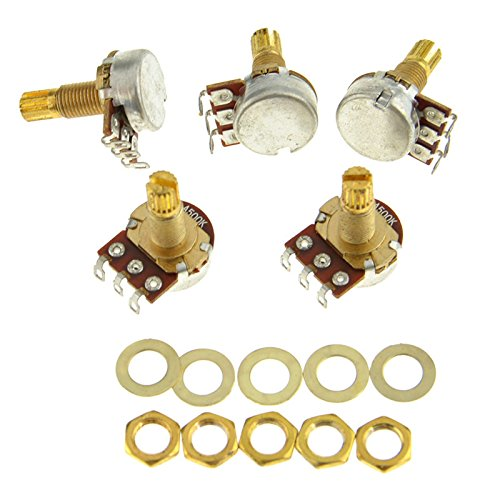 Guitar Potentiometer Audio Volume&Tone Pots Switch Control A500k Split Shaft Taper Potentiometers GOLD Pack of 5