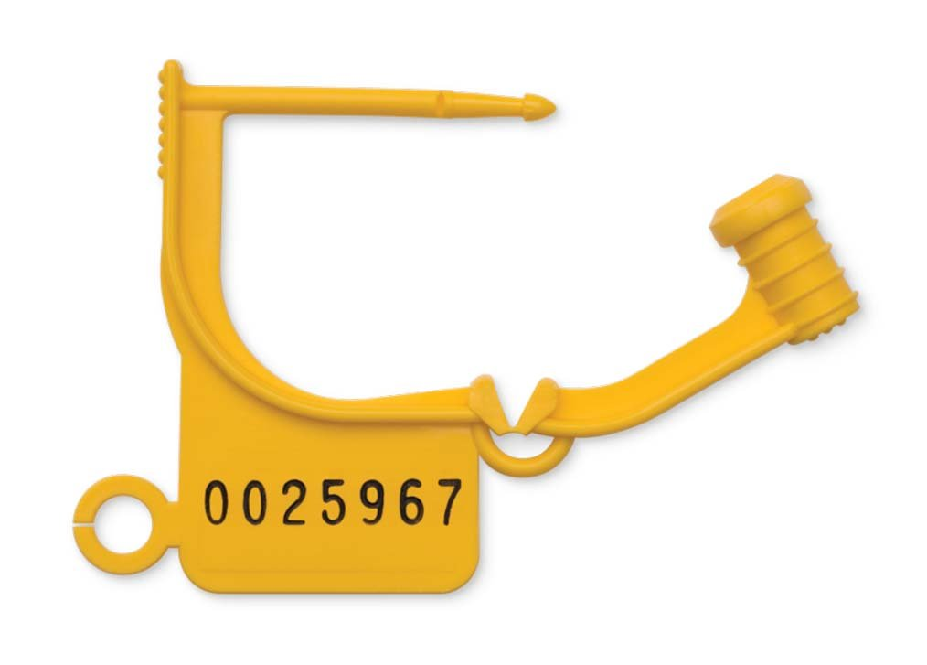 Key Surgical LT-500N Locking Tag, Uniquely Numbered, Yellow (Pack of 100)