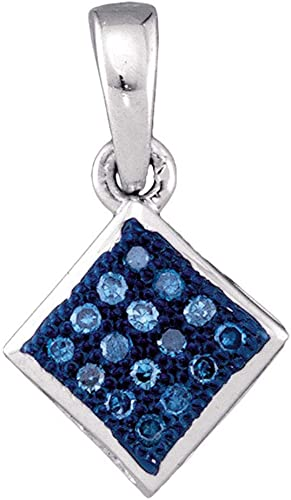 10kt Yellow Gold Womens Round Blue Color Enhanced Diamond Square Pendant 1//20 Cttw