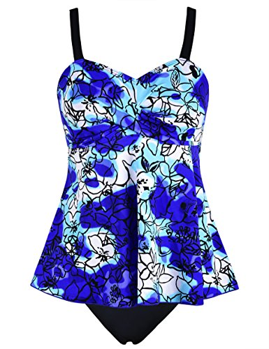 o Piece Tankini,Floral Print Cover up Swimsuits Bathing Suit (US 10, Twist Front Blue) (Floral Nylon Tankini)