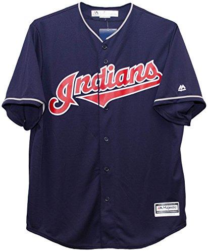 Cleveland Indians Alternate Navy Cool Base Jersey (Majestic Cleveland Indians Jersey)