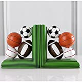 LPY-Set of 2 Bookends Resin Basketball Football Baseball Style Crafts, Book Ends for Office or Study Room Home Shelf Decorative