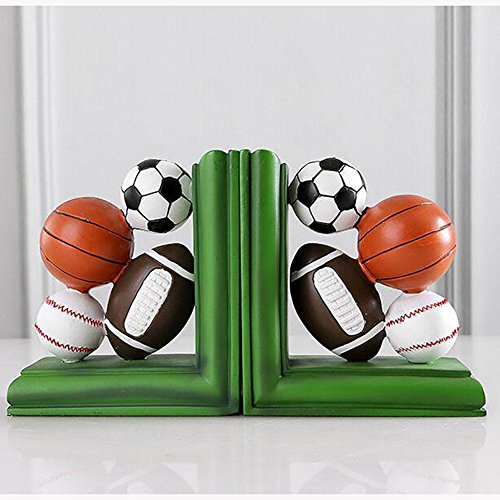 LPY-Set of 2 Bookends Resin Basketball Football Baseball Style Crafts, Book Ends for Office or Study Room Home Shelf Decorative ()