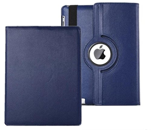 iPad Case Cover Rotating Stand with Wake Up / Sleep Function For Apple ipad 2nd 3rd 4th Generation Model A1395 A1396 A1397 A1416 A1430 A1403 A1458 A1460 or A1459 Navy Blue
