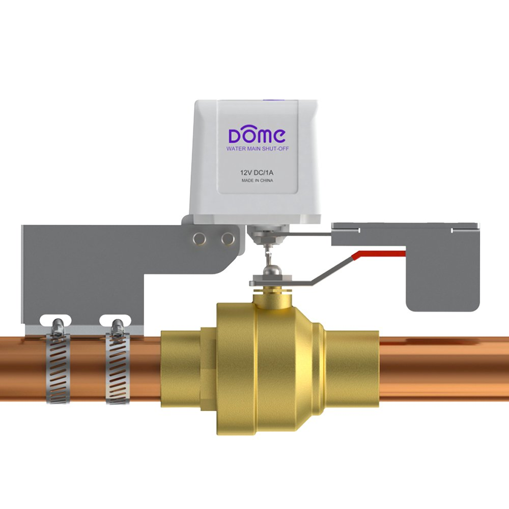 """Dome Home Automation Water Shut-Off Valve - for Pipes up to 1 1/2"""", White (DMWV1)"""