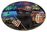 Doggie of the Day 4th of July Independence Day Fireworks Black Cat at the Lake Oval Envelope Seals OVE60408 (20)