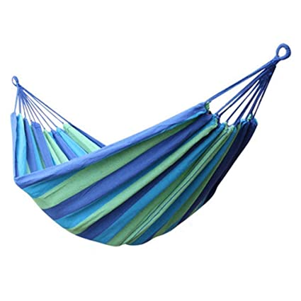 P-Plus International Canvas Fabric Hammocks Striped Ultralight Outdoor Beach Swing Bed with Strong Rope for Garden (280 x 80 cm, Blue)