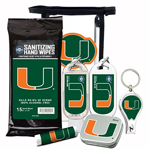 Miami Hurricanes 6-Piece Fan Kit with Decorative Mint Tin, Nail Clippers, Hand Sanitizer, SPF 15 Lip Balm, SPF 30 Sunscreen, Sanitizer Wipes. NCAA Gifts for Men and Women
