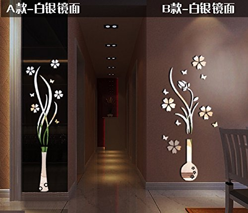 Alrens(TM)Luxury Vase Plum Flowers Pattern 3D Mirror Wall Stickers Living Room Entrance Bedroom TV Wall Decals Marriage Room Decorated Dining Room Décor Home Decoration Removable by Alrens (Image #2)