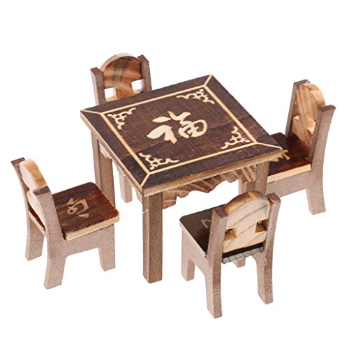 MonkeyJack 5 pieces Play House Toy Wooden Dining Table Chair Kitchen Furniture Set Developmental Role Play Pretend Game Props