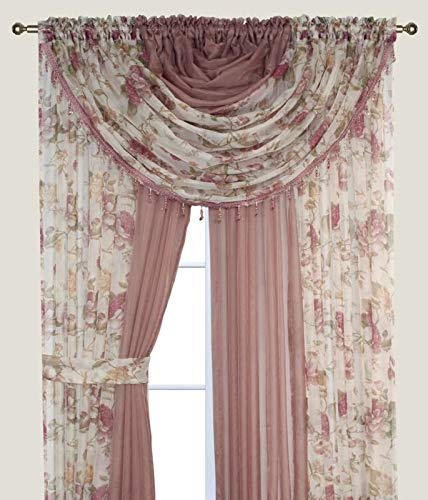 Complete Window Sheer Voile Curtain Panel Set with 4 Attached Panels (55x84 Each) and 2 Attached Valances with Beads and 2 Tiebacks - Easy Installation - Multicolor Floral Rose and Solid Taupe/Brown