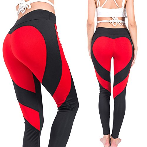 CROSS1946 Fashion Womens Active Yoga Pants Heart Shape Butt Printing Capris Waistband Fitness Leggings, Black-Red, Small