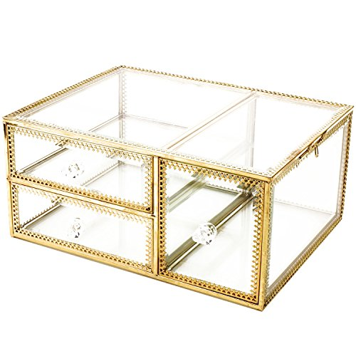 Antique Beauty Display Clear Glass 3Drawers Palette Organizer,Comestic Storage, Makeup Container 3Cube Hoder/Beauty Dresser Vanity Cabinet Decorative Keepsake Box