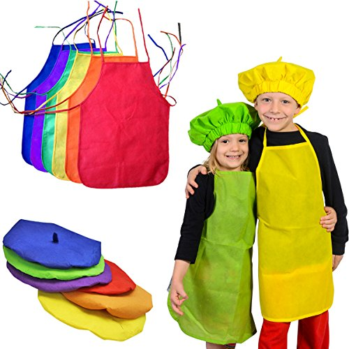 Kids Costumes - Artist Costume - 6 Painting Aprons with Art Hats - Dress Up by Funny Party Hats (Themes For Dressing Up In Groups)