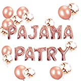 LaVenty Set of 11 Rose Gold PAJAMA PARTY Balloons PAJAMA PARTY Banner Pajama Party Decor Slumber Party Spa Party Balloons.