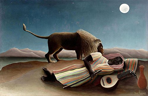 - BrushWiz - The Sleeping Gypsy by Henri Rousseau - Hand Painted Oil Painting Reproduction on Canvas (42