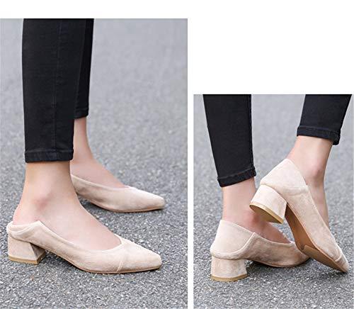 señaló 35 Manera UE la los señoras de Trabajo EU 37 de Las de Cuadrado tacón de Boca tacón Simple FLYRCX de Zapatos Baja Zapatos La A51w00