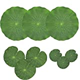 NAVADEAL Pack of 9 Artificial Floating Foam Lotus Leaves | Water Lily Pads Ornaments, Green | Perfect for Patio Koi Fish Pond Pool Aquarium Home Garden Wedding Party Special Event Decoration: more info