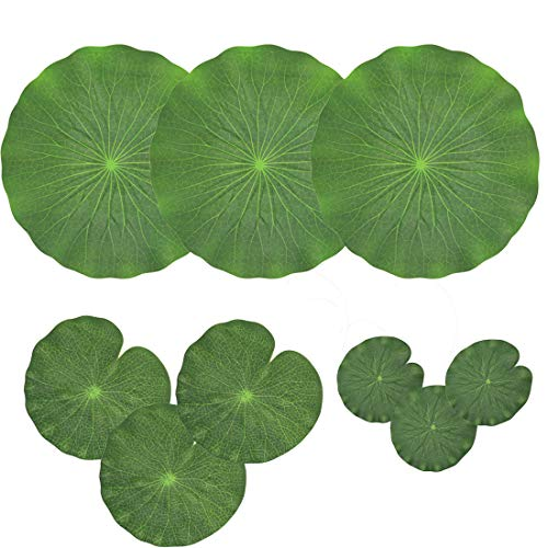 (NAVADEAL Pack of 9 Artificial Floating Foam Lotus Leaves | Water Lily Pads Ornaments, Green | Perfect for Patio Koi Fish Pond Pool Aquarium Home Garden Wedding Party Special Event Decoration)