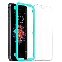iPhone 5 Screen Protector, iPhone 5s Screen Protector, ESR iPhone SE Tempered Glass Screen Protector with Free Applicator [Bubble-Free Installation] for Apple iPhone SE / 5S / 5 / 5C - 2 Pack