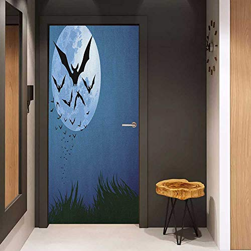 Onefzc Soliciting Sticker for Door Halloween A Cloud of Bats Flying Through The Night with a Full Moon Fall Season Mural Wallpaper W35.4 x H78.7 Night Blue Black Grey -