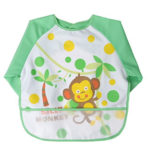 MOMLOVES - Waterproof Sleeved Bib,Infant Toddler Baby Waterproof Bib,6-36 Months (Green(Monkey))