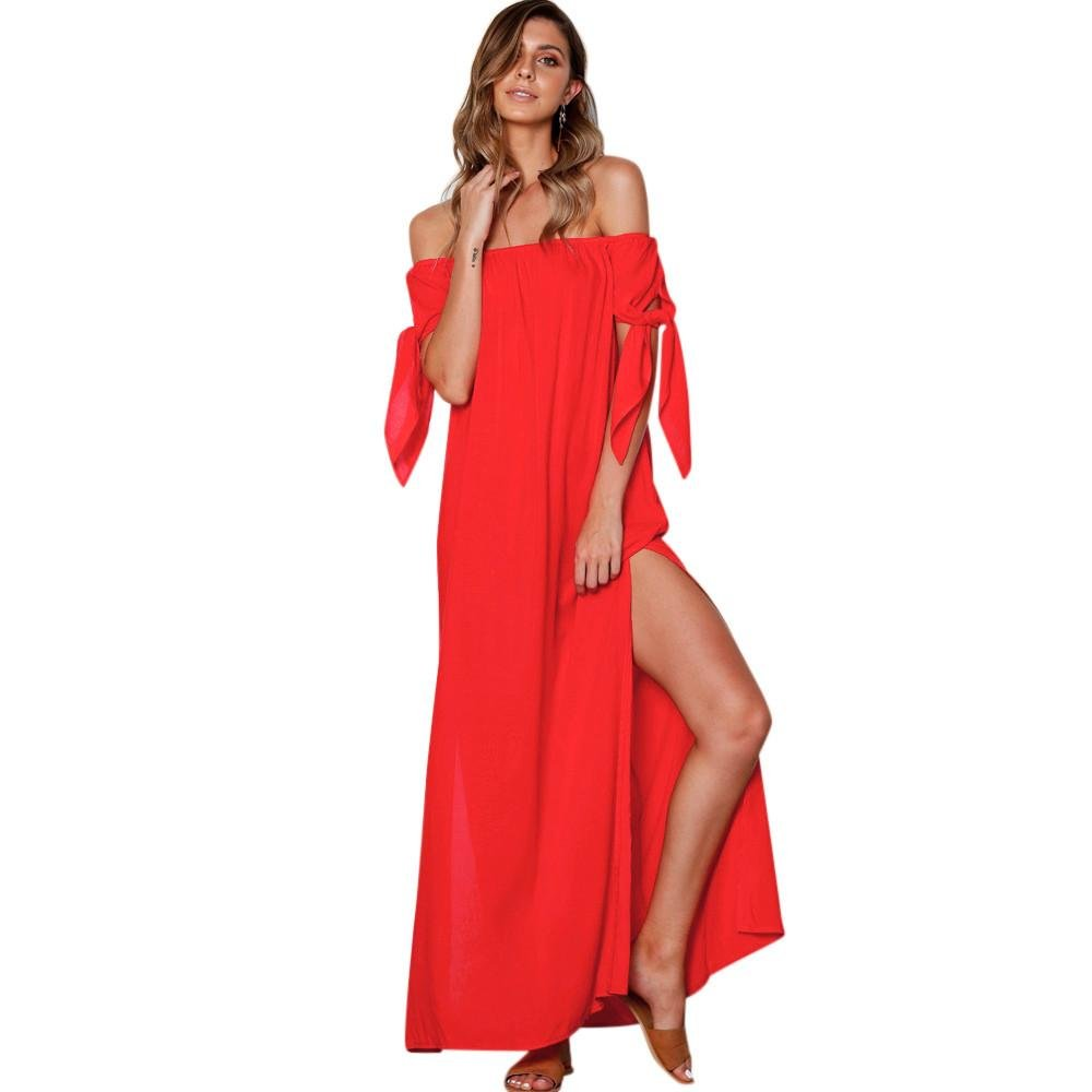 Kingko® Sommerkleider Damen Lang Strand Abendkleid Schulterfrei Maxikleid Off Shoulder Elegant Blumendruck