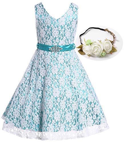 Bow Dream Lovely Lace V-Neck Flower Girl Dress Flower Peacock Blue 8