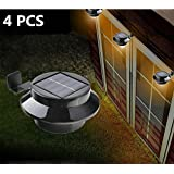 HowFine 4 PCS Sun Power Smart LED Solar Gutter Wall Security Night Light for Outdoor Permanent or Portable for any Home, Fence, Garden, Garage, Shed, Walkway, Stair - Black