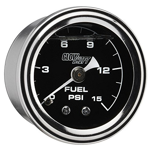 GlowShift Liquid Filled Mechanical 15 PSI Fuel Pressure Gauge - Black Dial - Waterproof - Installs Under the Hood - 1/8-27 NPT Thread - 1-1/2 (38mm) Diameter