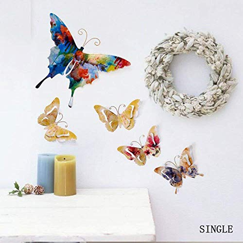 CWJ Vintage Wall Artwork Three-Dimensional Single-Iron Butterfly Living Room Backgroundcreative Hanging - Vi Iron Vintage Single