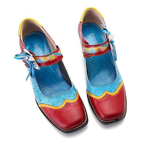 Spring Original Mary Gracosy Blue 2019 Bridle Leather Pumps City Heels Scarpe Flowers Light Confortevole Donna Mocassini Ankle Janes Colorful Summer Zn78qpZ