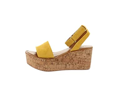 20719f5722fe Franco Sarto Ankle Strap Wedges Jovie Summer Yellow 7.5M New A306944
