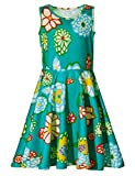 Adicreat Little Girls Print Flower Casual Sleeveless Midi Dresses Green 8-9 Years