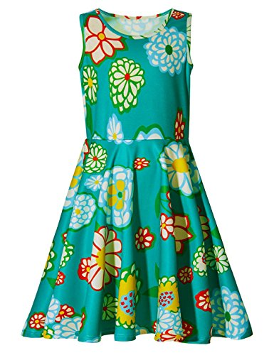 Uideazone Little Girls Print Flower Casual Sleeveless Midi Dresses Green 6-7 Years