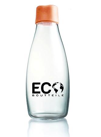 EcoBoutteile - Botella de cristal 532 ml sin plastificantes y diseñda en Europa, tangerine orange: Amazon.es: Hogar