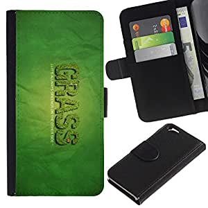 iKiki Tech / Cartera Funda Carcasa - Grass Greener Other Side Quote Funny Weed - Apple iPhone 6 4.7