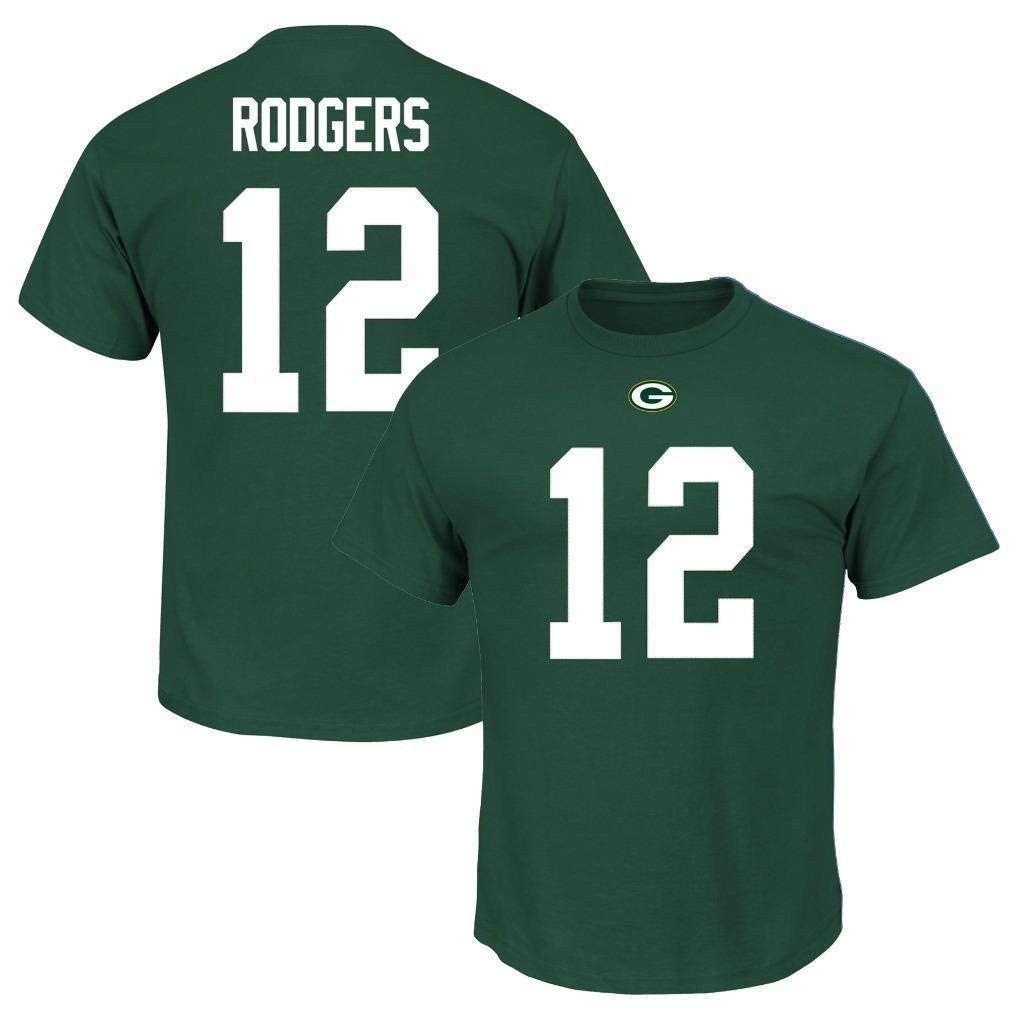 new concept 6a838 6ee19 Majestic Aaron Rodgers Green Bay Packers Green Big & Tall Name and Number  T-Shirt