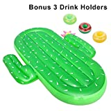 ThinkMax Inflatable Pool Float Raft for Adults and Kids, Giant 73 Inch Cactus Pool Lounge Toy for Summer Swim Party with Bonus 3 Drink Holders