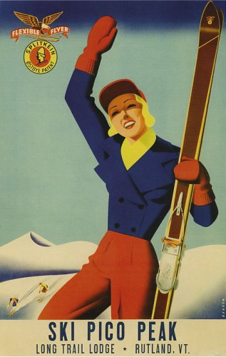 SKI PICO PEAK LONG TRAIL RUTLAND VERMONT DOWNHILL SKIING USA WINTER SPORTS VINTAGE POSTER REPRO