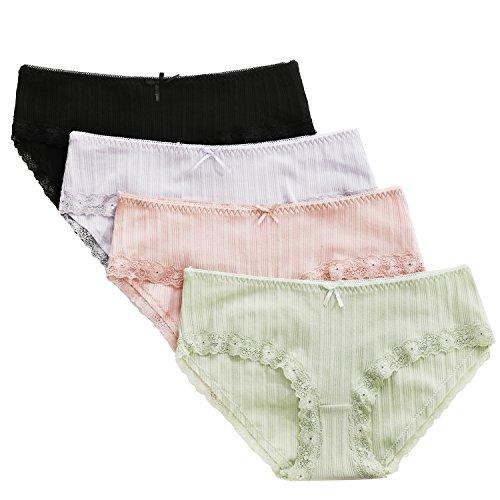 cc70e6e0826 Jual beautyin Women s 4 Packs Cotton Soft Underwear Strech Hipster ...